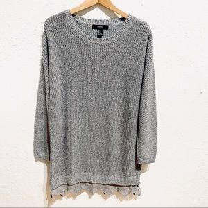 Forever 21 Grey Sweater Tunic Dress Lace Hem Sz L